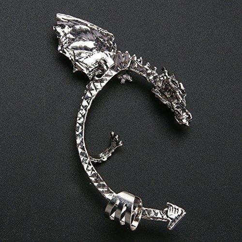 A Punk Alla All'orecchio Stile Con In Senza Clip Originale Retro Gotico Moda Silver Prospervei Drago Orecchino Buco Ancient x4nwYPx1