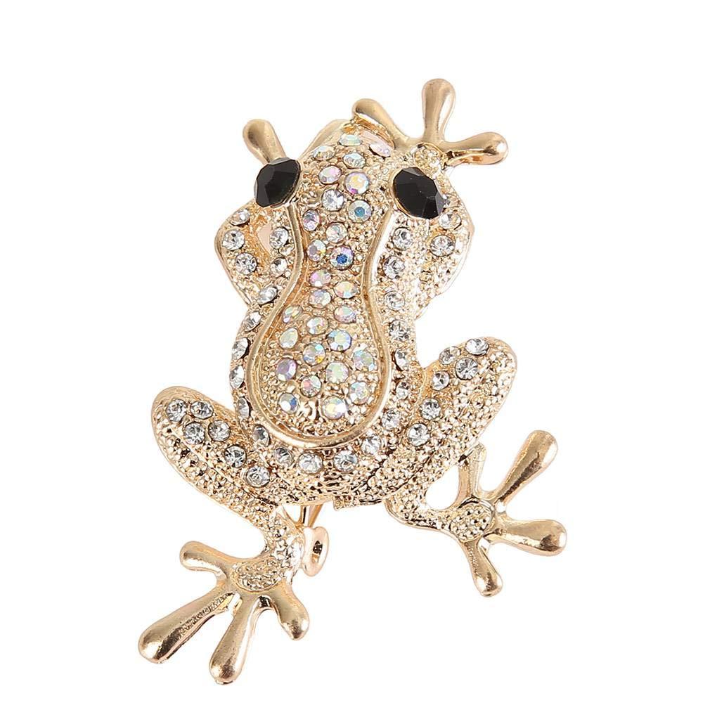Lidahaotin Grenouille Femmes en Forme de Filles Broche Perle Strass décor Breastpin vêtements en Alliage Pin Cadeau Bijoux d'anniversaire Champagne