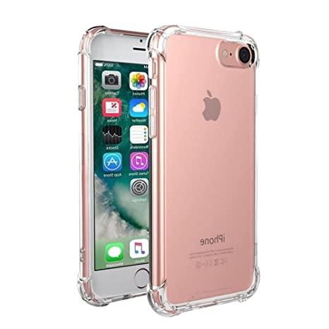 funda iphone 7 / iphone 8 [Refuerzos Laterales] [Liquid Crystal] [Silicona TPU Flexible] [Transparente] [Protección Grosor Fino]
