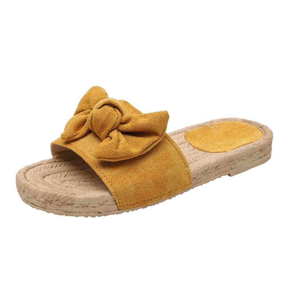2019 Fashion Rome Women Butterfly-Knot Round Toe Slipper Summer Plus Size Flat Outdoor Casual Comfortable Slippers (Yellow, 9)