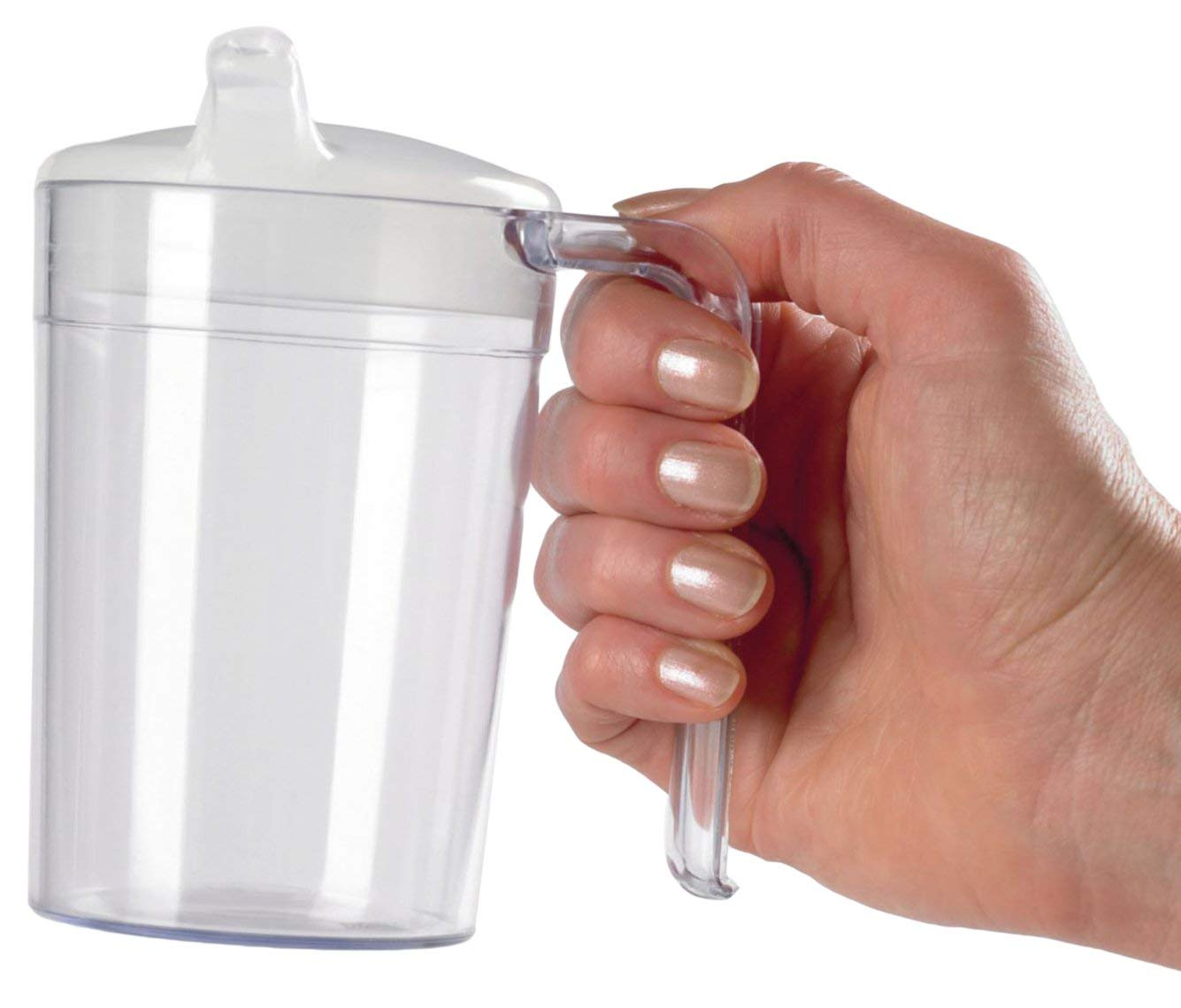 Homecraft Clear Polycarb Mug, Shatterproof Material, Choice of 2 Lids, Simple Drinking Cup and Mug for Limited Grip and Range of Motion, Ideal for Medical Patients, Children, Elderly, Handicapped
