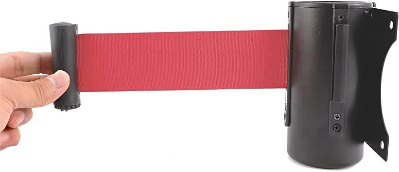 Stanchion Queue Barrier Post Wall Mount Retractable Ribbon 2m Belt Red