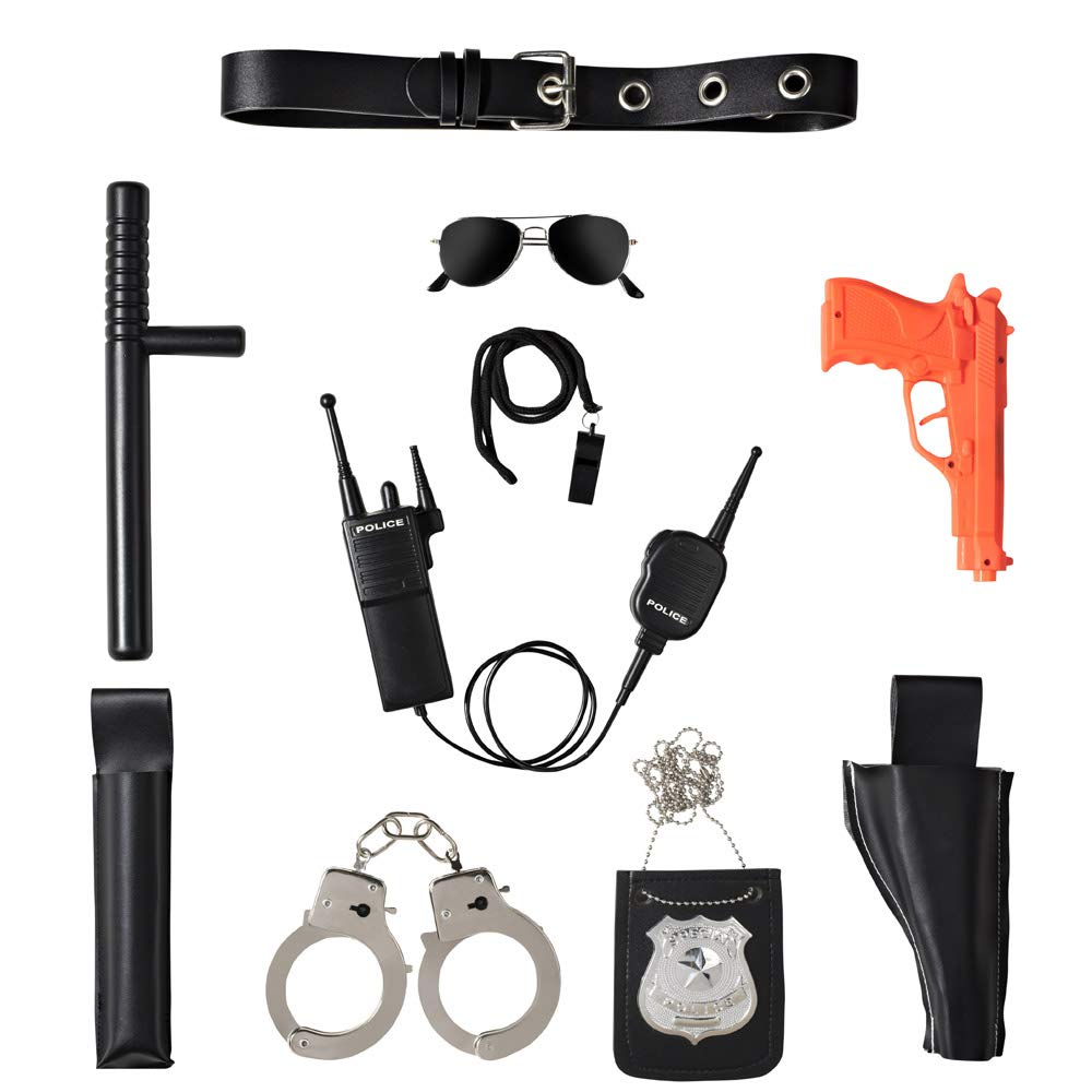Ultimate All-In-One Police Accessory Role Play Set For Kids - Includes Gun, handcuffs, police badge and More, Durable Plastic Construction, Police Force Halloween Accessories For Kids by Dress Up America