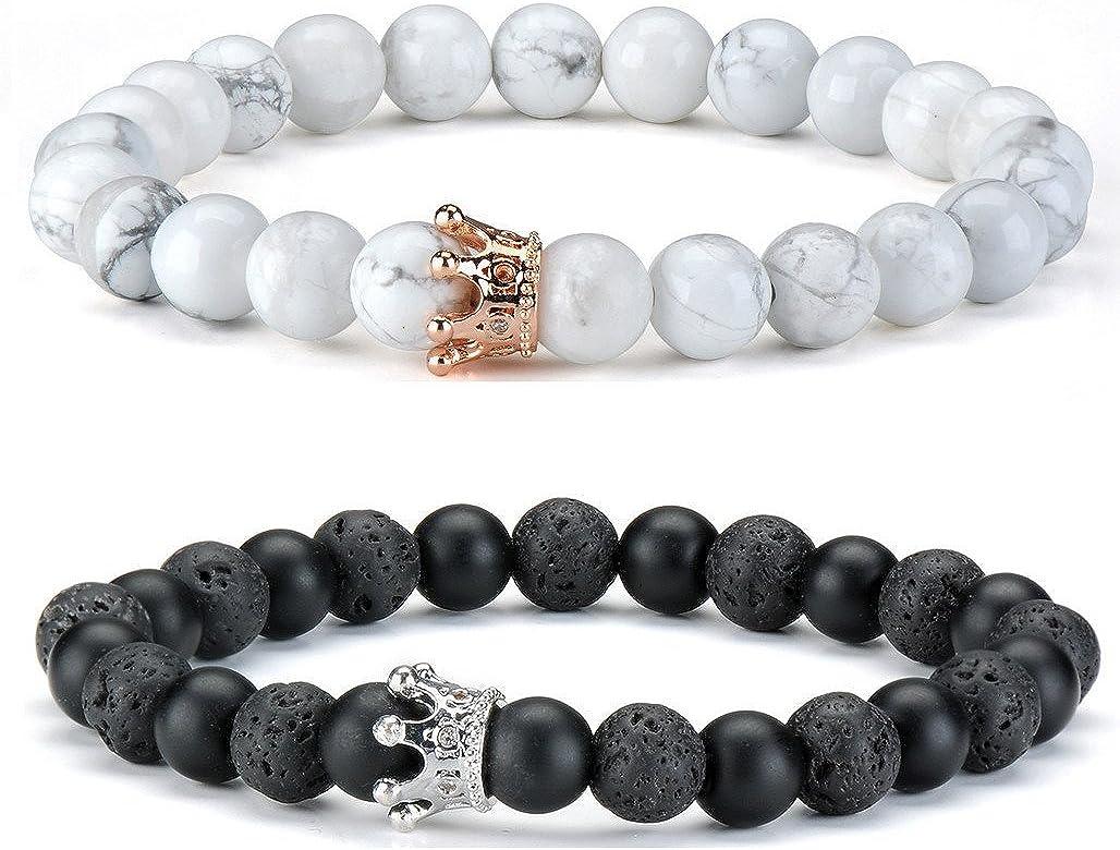 ChicJ&Y Par Distancia Pulseras para lovers-2pcs Pulsera de Piedra Blanca Negra Oro Rosa y Plata con Cuentas de la Reina de la coronacouple Bracelets