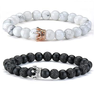 3a3b27b19d61 2 pcs Couple Bracelet Bracelet en pierre blanche noire Bracelets en perles  de rocaille or rose