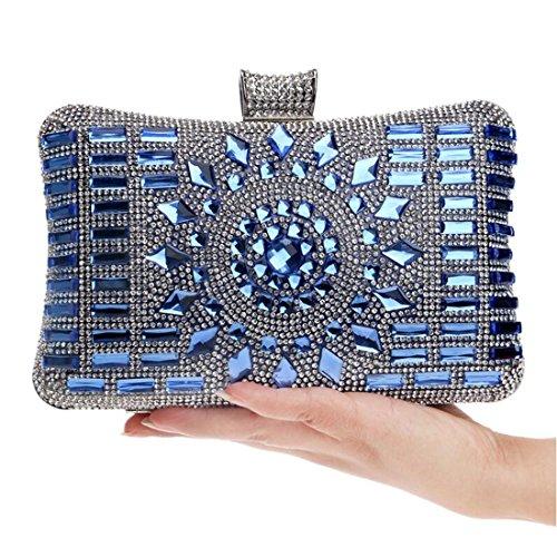 Beaded Purse Blue Women Rhinestone Wedding Handbags Evening EPLAZA Bags Crystal Clutch Bling 6zETqZTwx