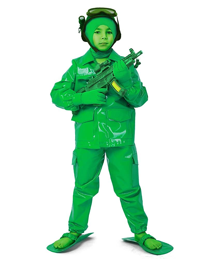 cosplay. FM Child Green Army Man Deluxe Soldier Costumeハロウィンに  グリーン B078JJ2FWH