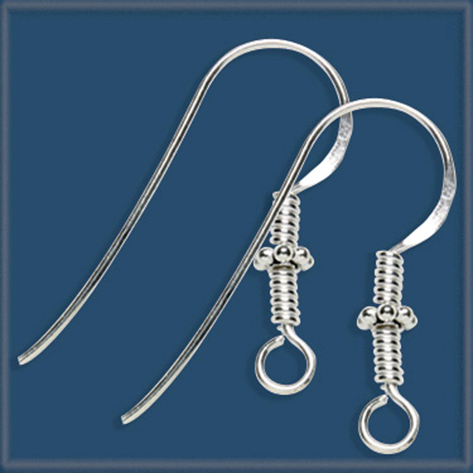 50 Sterling Silver 925 Bali Beads Earring Ear Wire Hook