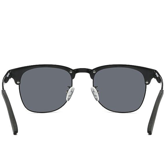 5fad2cd707 Amazon.com  Galulas Classic Retro Square Semi-Rimless Clubmaster Women and  Men Sunglasses Al-Mg Polarized Eyewear Frames Mirrored Reflective Lenses  Driving ...