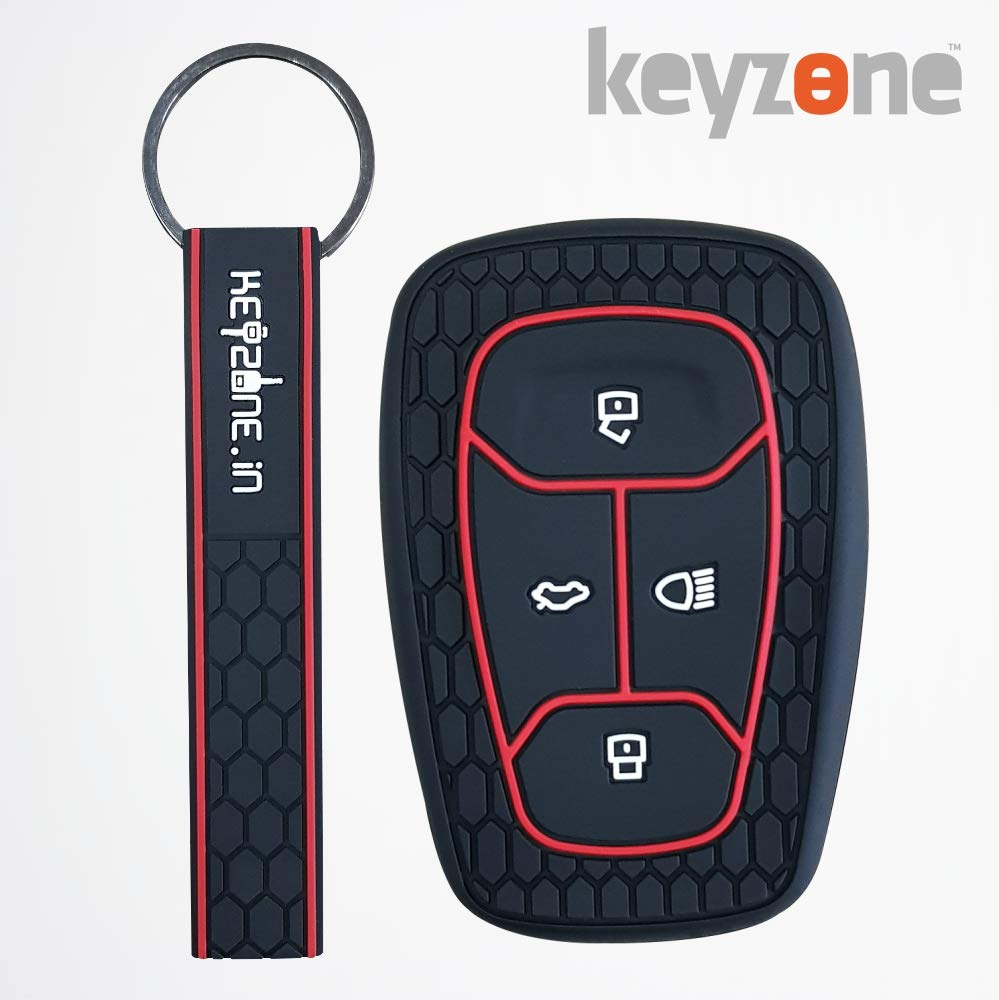 Keyzone Silicone Key Cover for Tata Nexon Smart Key with Keyring (Black) product image