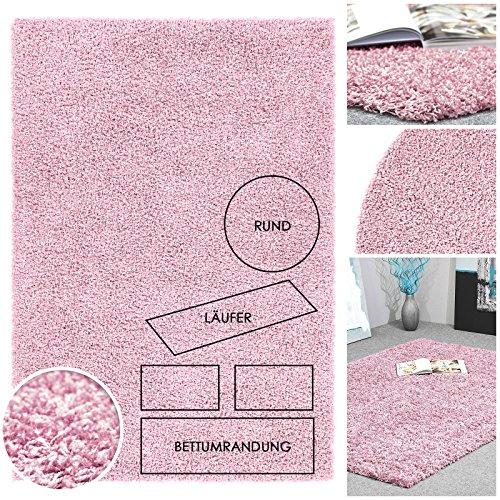 Flauschiger Hochflor Langflor Shaggy Kuschel Teppich Uni Rosa Baby Pink | Einfarbige Weiche Fransenteppiche als Brücken Läufer Bettumrandung oder Rund | Mit Textilrücken für Schlafzimmer, Kinderzimmer, Diele oder Wohnzimmer, Größe:80x150 cm