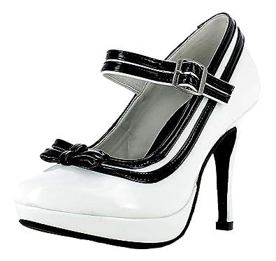 Mary Jane Damen Pumps Lack Schuhe - Weiß Schwarz zum Retro Pin Up ... 386c4e0537