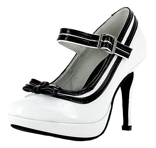 uk availability 34215 b962f Mary Jane Damen Pumps Lack Schuhe - Weiß Schwarz zum Retro Pin Up Kostüm  für Damen