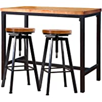 Levede 3pc Industrial Pub Table Bar Stools Wood Chair Set Home Kitchen Furniture A
