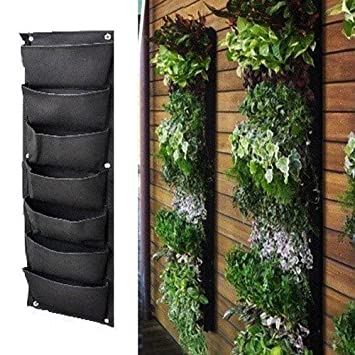 Meiwo 7 Pocket Hanging Vertical Garden Wall Planter For Yard Garden
