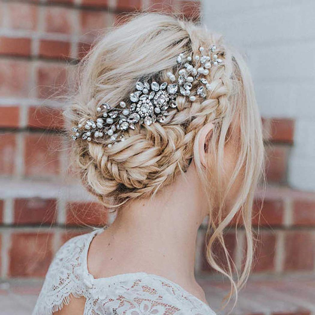 Artio Wedding Hair Comb Hair Accessories with Crystal Rhinestones for Women (Silver) by Artio