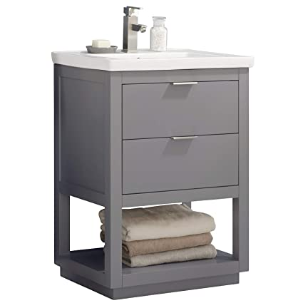 Luca Kitchen Bath LC24GGP Sydney 24 Bathroom Vanity Set In French Gray Made With Hardwood And Integrated Porcelain Top