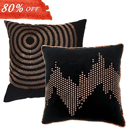 Valery Madelyn 18 x18 Inch Set of 2 Geometric Black Gold Velvet Throw Pillow Case Decorative Pillow Cover for Sofa Couch, Mix of Nailhead Studs and Embroidery Design … (Quality Furniture Comparison)