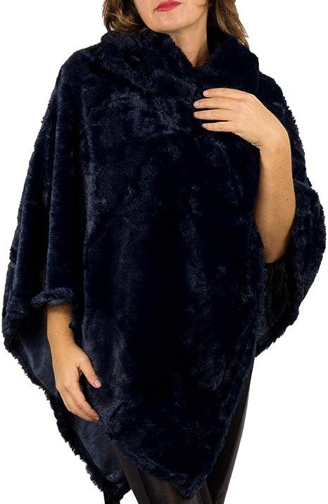 Poncho donna in eco pelliccia con collo Mantella donna invernale coprispalle nera rossa grigia blu Copri giacca cappotto cappottino Giubbotto poncio copri abito Mantellina Ragazza in Ecopelliccia