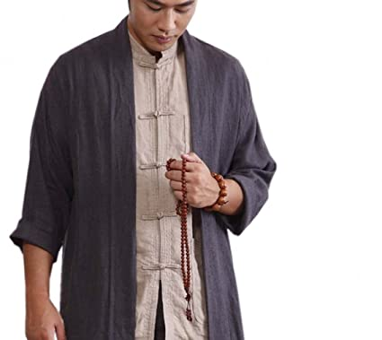 bfbc28a8707 ZanYing Men Buddhist Linen Shirt Blouse Monk Outfit Blue Brown (Brown