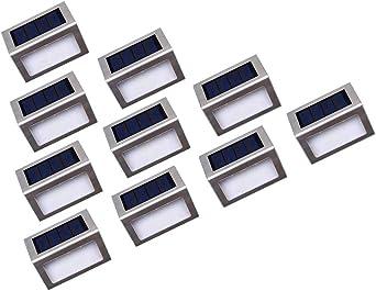 Luces Solares LED exterior Jardín Onshida, Lámparas solares impermeable Ip44, amino de Iluminación, 3 LEDs ilumina para Jardín, Escaleras, Patio, etc. (10 pack): Amazon.es: Iluminación