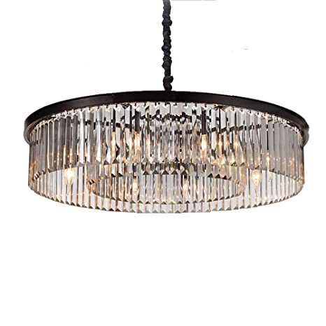 MEEROSEE Modern Crystal Chandelier Lighting Raindrop Pendant Light Ceiling Light  Fixture Contemporary Clear Crystal Black Frame