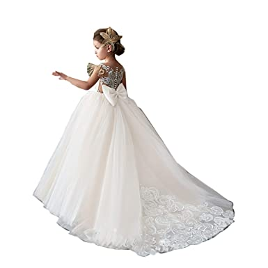 140c71e7c73c Amazon.com: Hengyud 2018 Flower Girls Dresses for Weddings Country Ball  Gowns Princess Lace 110: Clothing