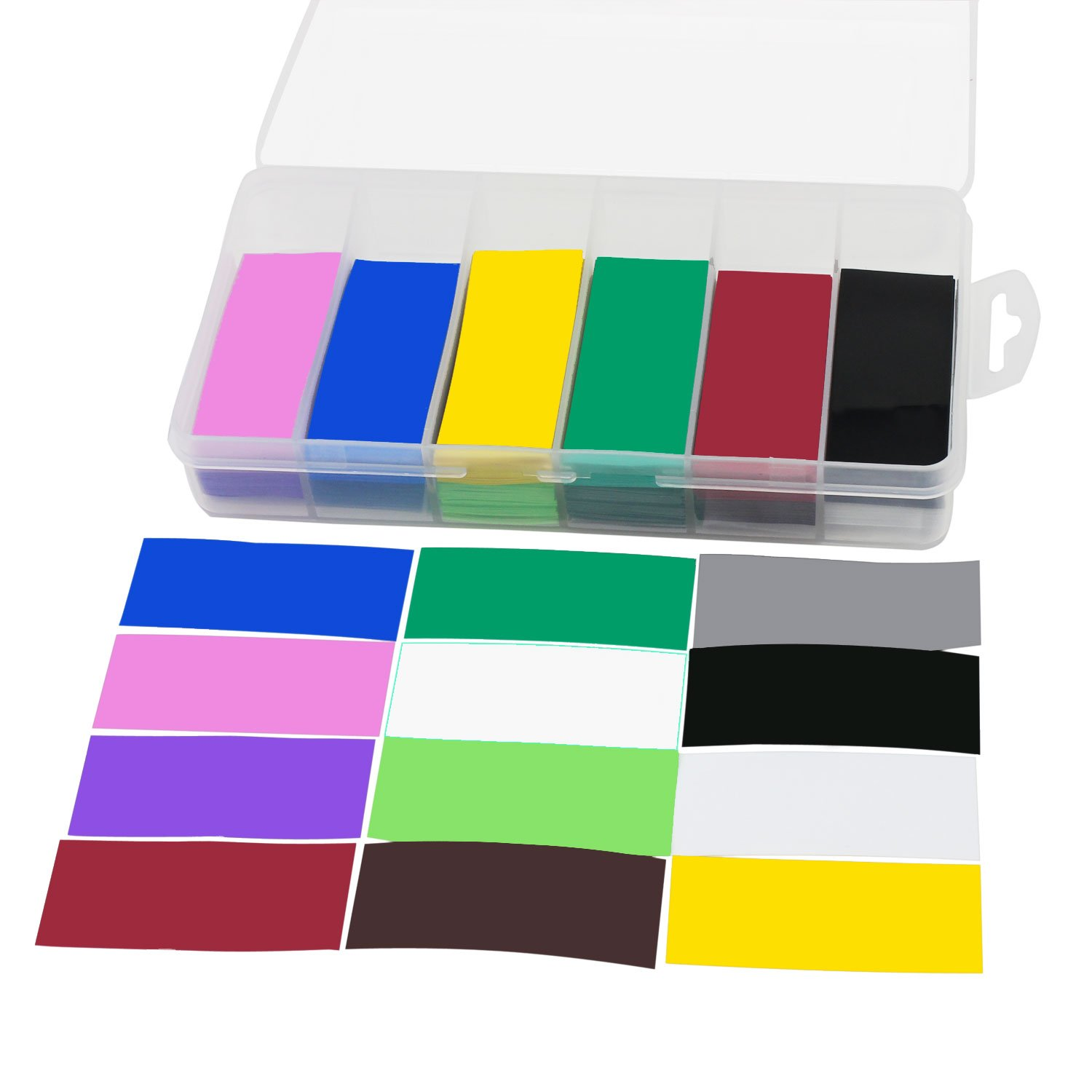 OCR Flat PVC Heat Shrink Tubing Battery Wrap for 1 x 18650 Battery 300PCS(29.5mm12 Colors) by OCR (Image #3)