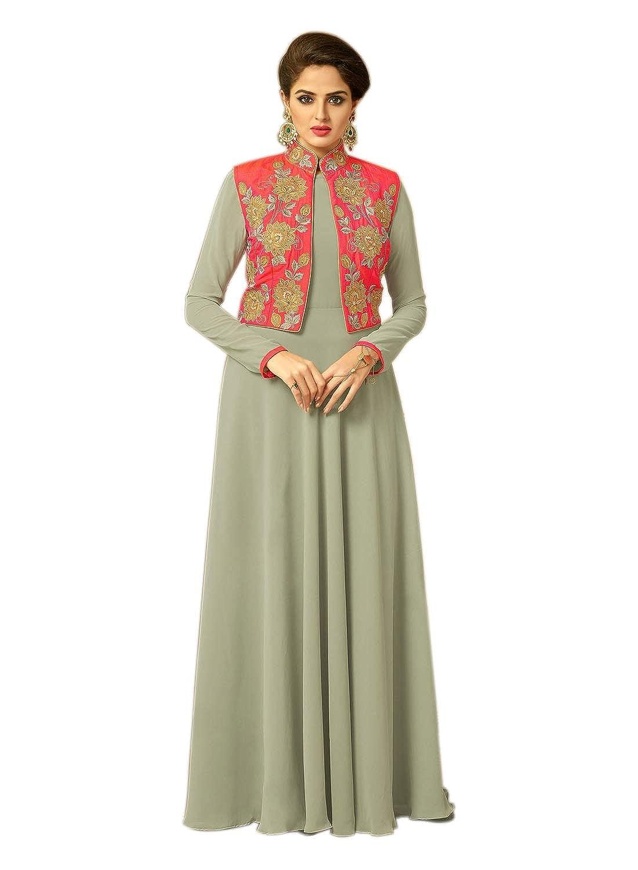 6385aff98d Hi Fi Fashions Women's Long Anarkali Semi-Stitched Georgette Salwar ...