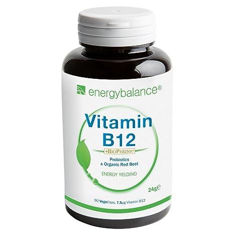 Vitamina B12 metilcobalamina biológicamente activa 7.5µg + BioPerine   Vegano   Sin gluten   Sin