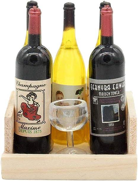 Casa De Muñecas En Miniatura Cajón de madera de vino con 6 botellas de vino