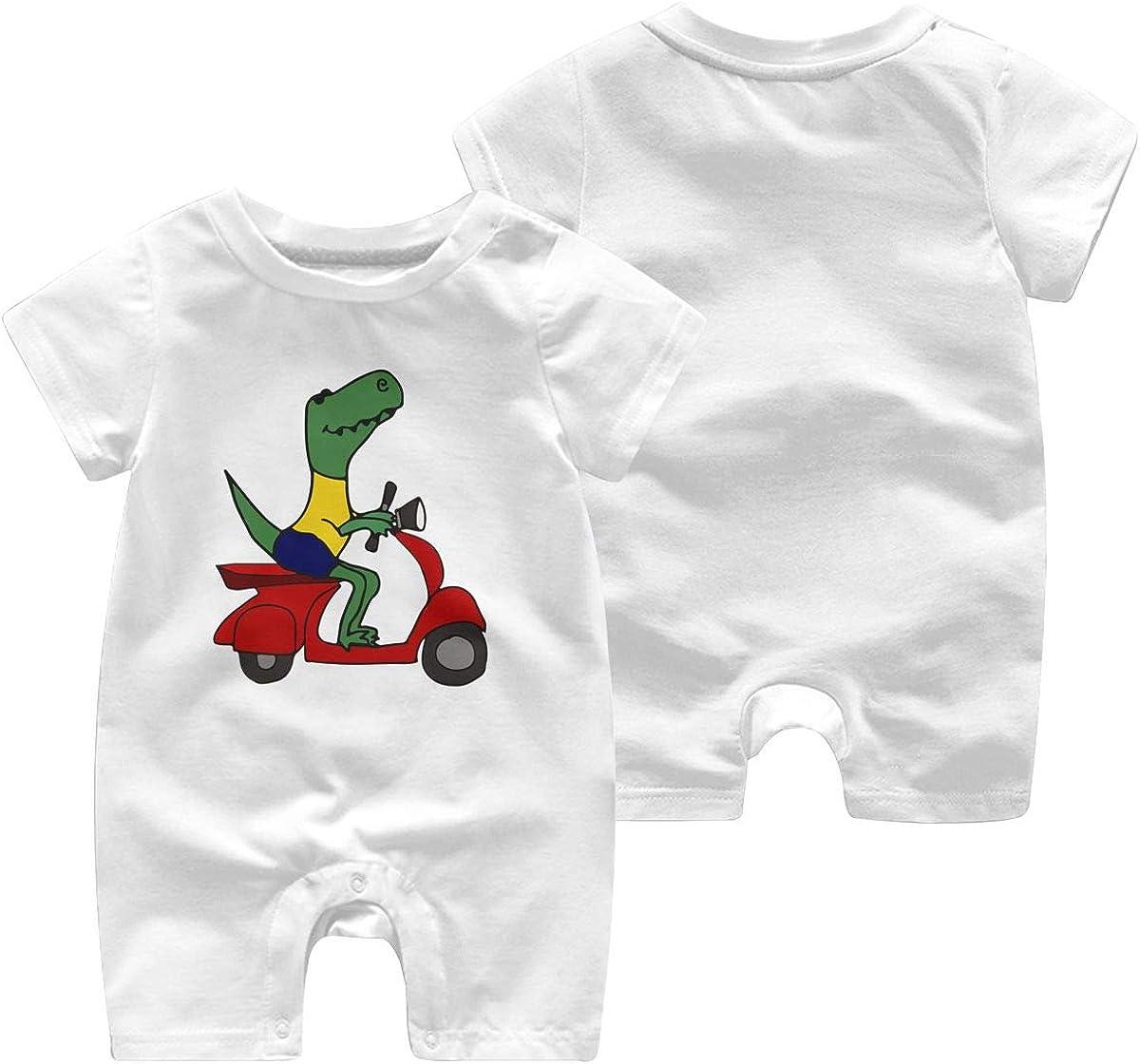 Toddler Baby Boy Girl Jumpsuit T-Rex Dinosaur Riding Motor Scooter Toddler Jumpsuit