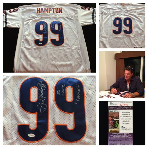 Dan Hampton Chicago Bears Signed Autograph White Jersey. JSA COA