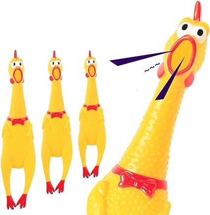 N//V Urlando Pollo Giallo Gomma Squaking Pollo Giocattolo Novit/à Durevole Gomma Pollo Per Bambini E Cani 3 Dimensioni