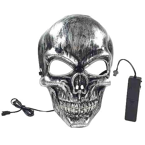 joyliveCY Máscara de LED Máscara de Esqueleto LED Luminoso de Halloween, Boca Ilumina la máscara