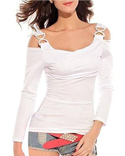 Mine tom Mujer Dama Verano Tapas Apagado Hombro Camisas Manga Larga Blusas Blanco 34