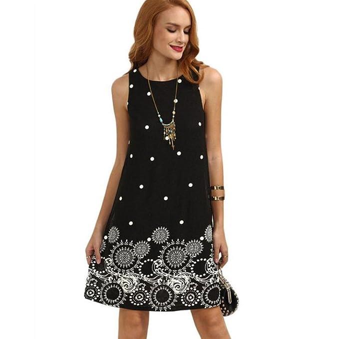 ❤Venmo Verano Vestidos Mujeres,Vestidos sin Mangas de Gasa de Verano sólido de Las