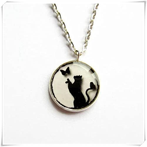 JUN Collar de gato negro, colgante de imagen de gato y ...