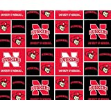 Cotton University of Nebraska Cornhuskers College Team Sports Cotton Fabric Print By the Yard