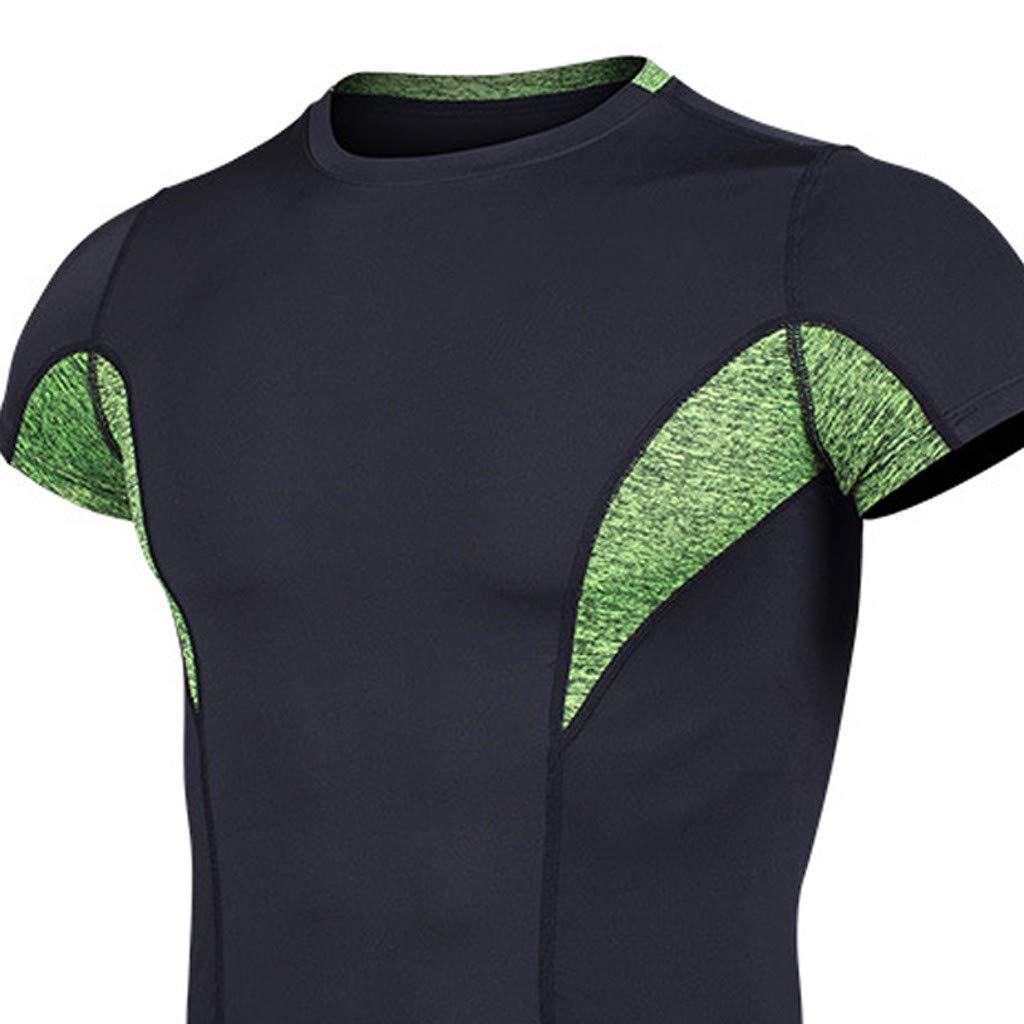 Benficial Mens Fitness Short Sleeves Rashguard T-Shirt Bodybuilding Skin Tight-Drying Tops 2019 Summer