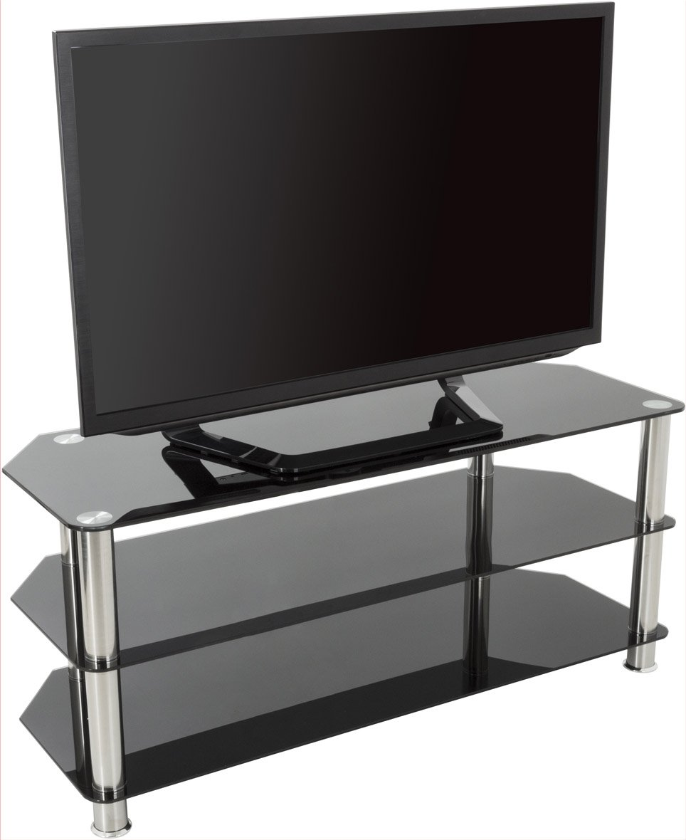 Avf Universal Black And Chrome Tv Stand For Up To 50 Inch Plasma And