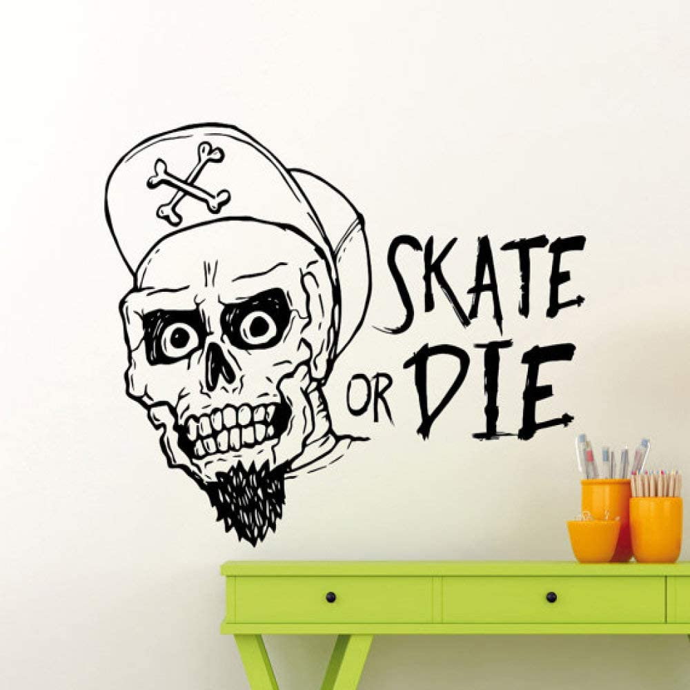 jiushixw Skate or Die Cotizaciones con Fashion Skull Extreme Sport Series Wall Sticker Vinyl Design Home Room Decor Mural D 57x70cm: Amazon.es: Hogar