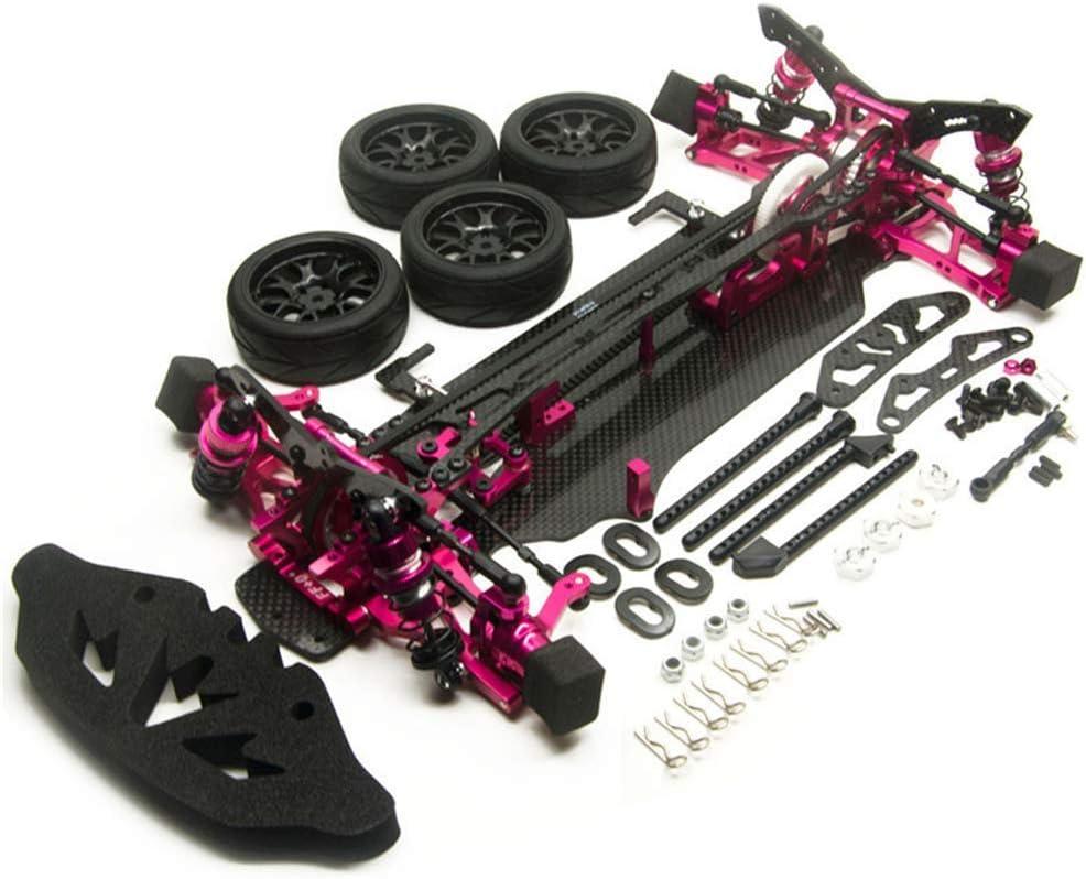 ドリフトカーRCフレームボディキット、ホイール付きRahmen mit Wheels Felgen Alloy&Carbon for rcクローラーアクセサリー