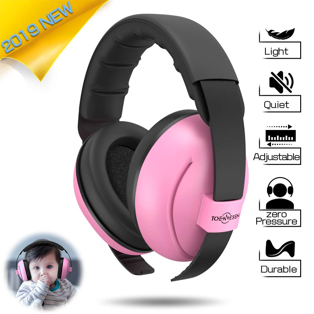 Toennesen Baby Ear Protection Earmuffs,Noise Reduction Headphones for Infant & Toddlers,Soft & Comfortable Baby Ear Protectors-Pink