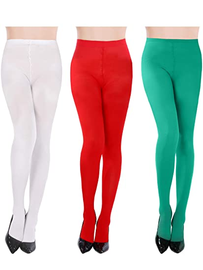 51c199be236 Blulu 3 Pairs Women Striped Tights Full Length Stockings for Christmas St. Patrick s  Day Favors