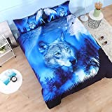 Beddinginn 4Pcs 3d Tencel Cotton Blend Blue Wolf Bedding Sets Duvet Cover Set.1 Duvet Cover+2 Pillowcase+1 Flat Sheet.No Comforter Included(King Size 102''x90'')