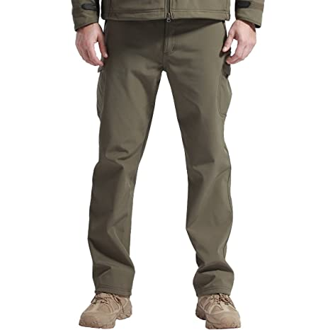 ffb64cc14d9 FREE SOLDIER Men s Outdoor Water Repellent Windproof Softshell Fleece Lined  Cargo Snow Hiking Pants (Army