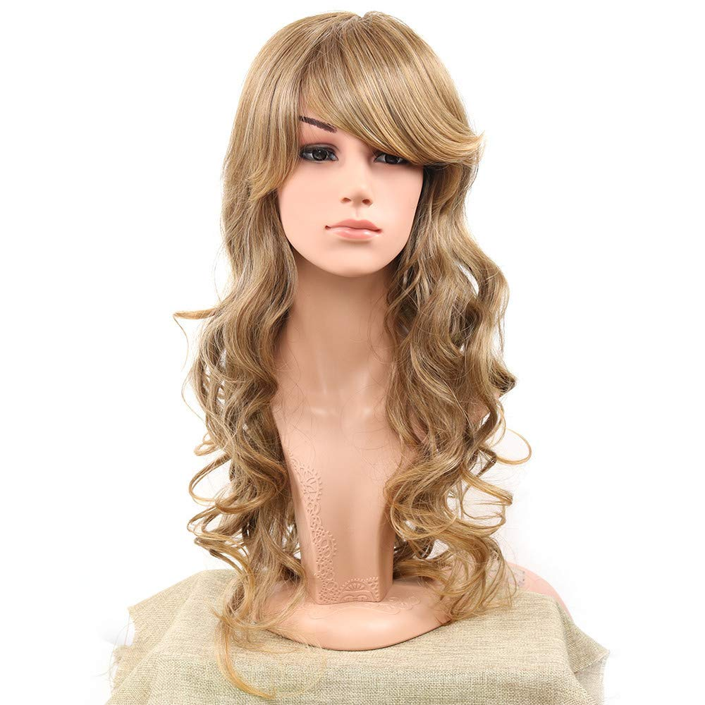 LONGLOVE European and American Wig Gold Brown Fluffy Natural Long Curly Hair Chemical Fiber Hood