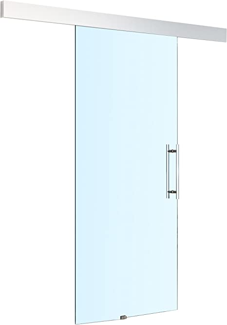 HOMCOM - Kit de pista para puerta corredera de cristal templado de 8 mm, mango interior 750 x 2100 mm: Amazon.es: Bricolaje y herramientas