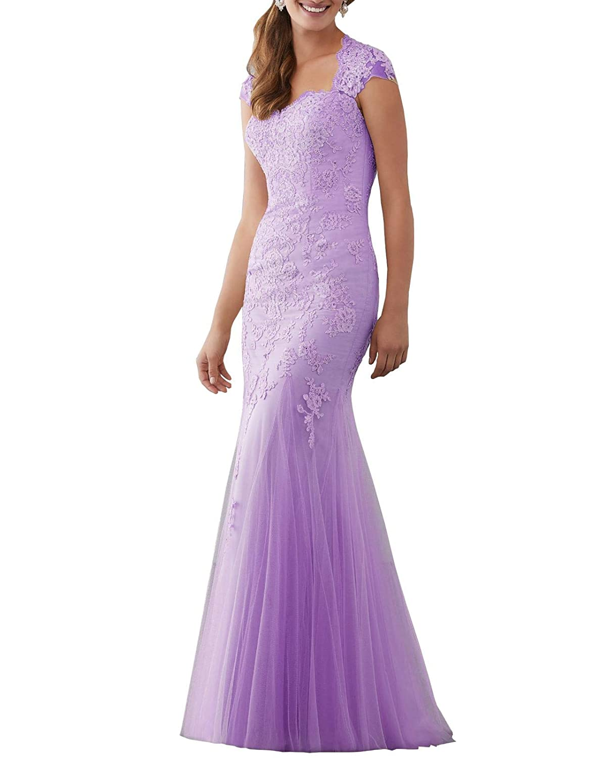 Light Purple Aishanglina Caps Shoulder Embroidered Appliques Beaded Evening Gown Floor Length Party Tulle Dress